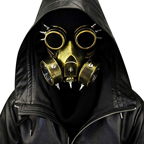 Peahop Halloween Gas Maske, Steampunk Gasmaskenbrille Spikes Skeleton Warrior Totenmaske Maskerade Cosplay Kostüm Requisiten