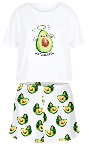 Ocean Plus Mujer Verano Conjunto de Pijama Informal Impresión Digital Manga Corta Pijama de Dos Piezas Ropa de Casa Pantalones Cortos y Conjuntos de Camisetas (XL (EU), Aguacates)