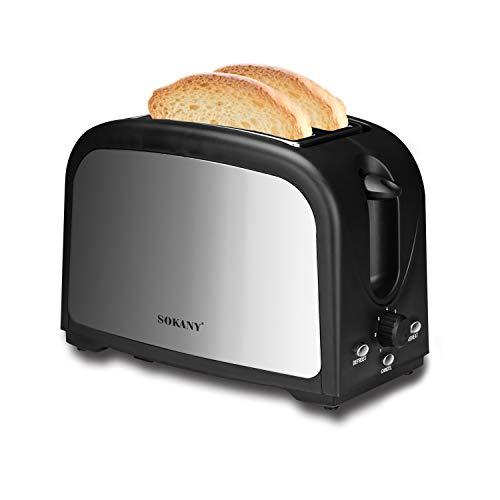 Podazz Máquina tostadora de 2 rebanadas, ajuste de temperatura de doble ranura y 7 posiciones, bandeja para migas extraíble, Easy Clean-800W (negro)