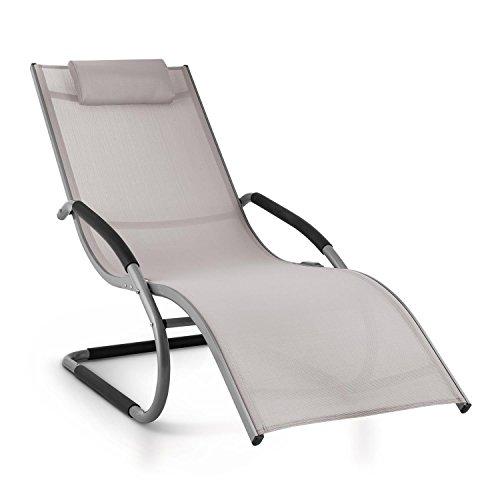 blumfeldt Sunwave - Gartenliege, Liegestuhl, Schaukelliege, Relaxstuhl, ergonomisch, Kunststoffstopper, Aluminiumrohr, atmungsaktiv, witterungsbeständig, max. Belastung: 110 kg, grau