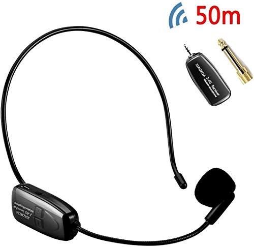 XIAOKOA 2.4G micrófono inalámbrico, la transmisión inalámbrica estable 40m,auriculares y de mano 2 en 1,para el amplificador de voz, altavoces