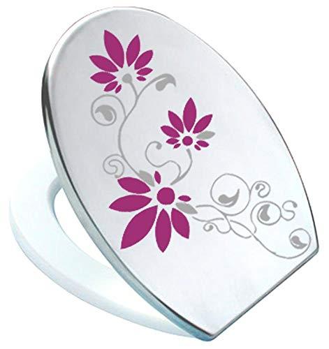 Grafix–Adhesivo decorativo para tapa de inodoro (Pressalit Silbergrau/burdeos rojo vinilo