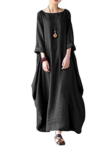 VONDA Abiti Donna Lunghi Manica Cotone Eleganti Vestiti Girocollo Tinta Unita Taglie Forti Casual Inverno Autunno 1A-Nero XXL