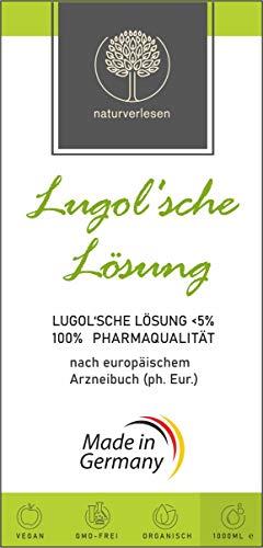 1000ml Lugolsche Lösung <5% in pharmazeutischer Qualität (ph. Eur.) - hergest. in Deutschland – Jodlösung nach Originalrezeptur in Apothekerflasche - incl. Pipette