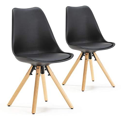 VS Venta-stock Set de 2 sillas Comedor Jeff Estilo nórdico Negro, certificada por la SGS, 54 cm (Ancho) x 49 cm (Profundo) x...