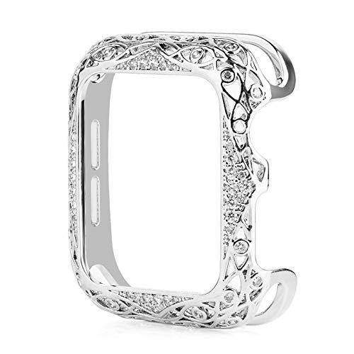 KAAGGF Parachoques de Lujo de Las Mujeres de Cobre Tallado para la Caja del Reloj de Apple 44 / 40mm 42 / 38mm Cubierta de Metal de Bling de Diamante para iWatch Series SE / 6/5/4/3/2