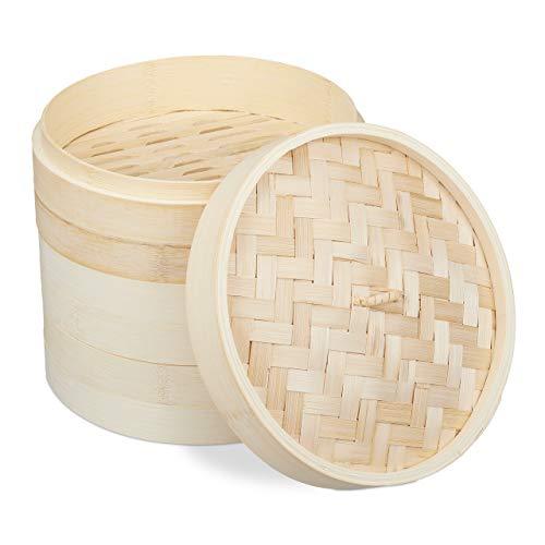 Relaxdays 10031463 Bambus, asiatischer Dämpfkorb mit 3 Etagen, für Dim Sum, Reis, Dampfgarer Einsatz, Ø 24 cm, Natur