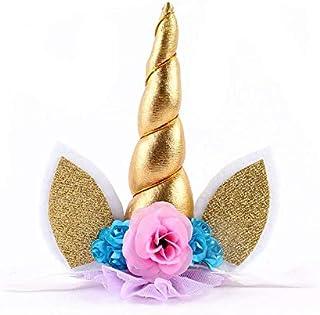 Toddle Girls Unicorn Flowers Hair Bands Kids Lace Crown Headwear Glitter Headband - Gold