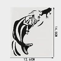 HXZH カエルビニール車のステッカーを食べる12.6cmx14.5cm面白い魚 (Color Name : BLACK)