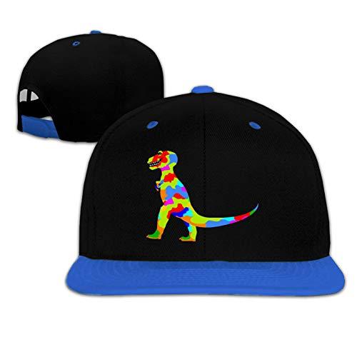 Rainbow Prehistoric Dinosaur Kid Cómodo Hip-Hop Béisbol Sombreros Ajustable Running Sombreros-Azul