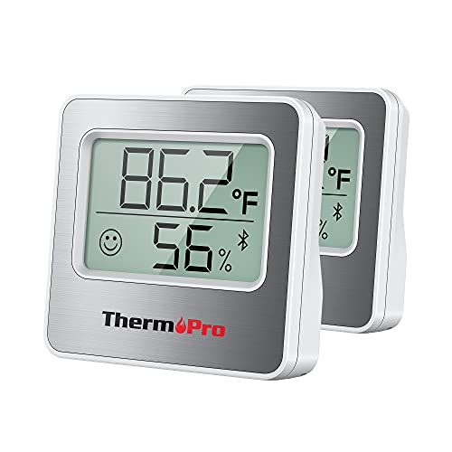ThermoPro 260FT Bluetooth Hygrometer Room Thermometer for Home with Remote Temperature and Humidity Monitor & Smart APP, Temperature Humidity Sensor Gauge with Max Min Records, 2Pack