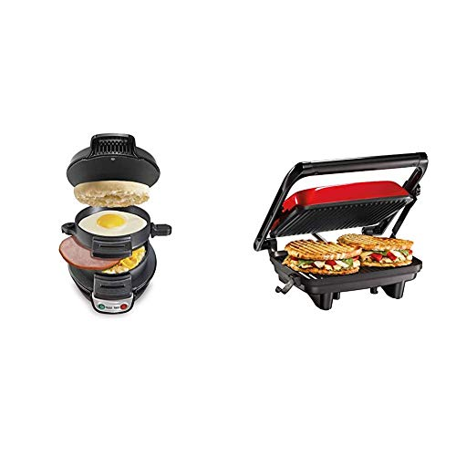 "Hamilton Beach Breakfast Sandwich Maker, Black (25477) & Electric Panini Press Grill With Locking Lid, Opens 180 Degrees For Any Sandwich Thickness, Nonstick 8"" X 10"" Grids, Red (25462Z)"
