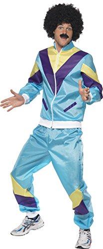 Smiffys 80er Hochmodischer Jogginganzug Kostüm, Blau, mit Jacke und Hose, XL