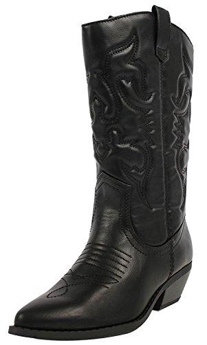 SODA Damen Reno Western Cowboy Spitze Zehen Kniehohe Pull On Tabs Stiefel TPS Reno-S Schwarz Größe 40