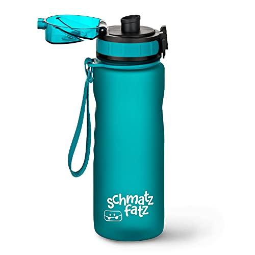 schmatzfatz auslaufsichere Sport Trinkflasche Kinder, BPA frei, 500ml, Fruchteinsatz, 1-Klick Verschluss, Kinder Trinkflasche für Schule Kindergarten (Petrol)