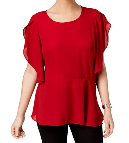 NY Collection Womens Asymmetric Printed Blouse Red S