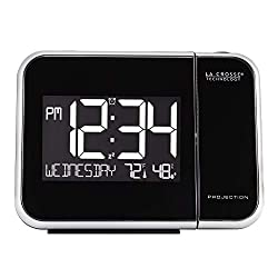 La Crosse Technology 616-1412 Projection Alarm Clock with Indoor Temperature, Black