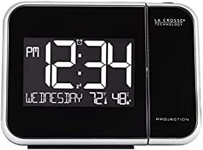 La Crosse Technology 616-1412 Projection Alarm Clock with Indoor Temperature, Black