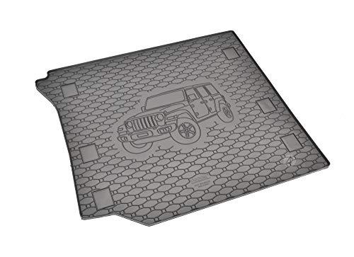 Passgenau Kofferraumwanne geeignet für Jeep Wrangler ab 2006/-11/-19 ideal angepasst schwarz Kofferraummatte + Gurtschoner