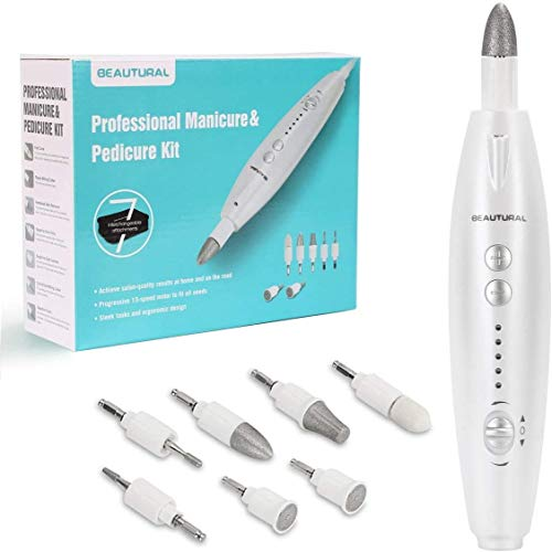 BEAUTURAL Professional Electric Manicure and Pedicure Kit, Nail File Drill, Powerful 13-Speed Nail Drill and 7 Attachment for Salon-Quality Care of Hands and Feet at Home