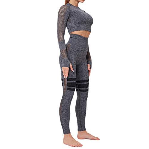 Crop Tops Leggings Anzug Damen Trainingsanzüge Sportanzug Bauchfrei T-Shirts Enges Sweathose High-Waist Jogginganzug Laufen Fitness Suit Sport Bekleidungsset, Schwarz, Small