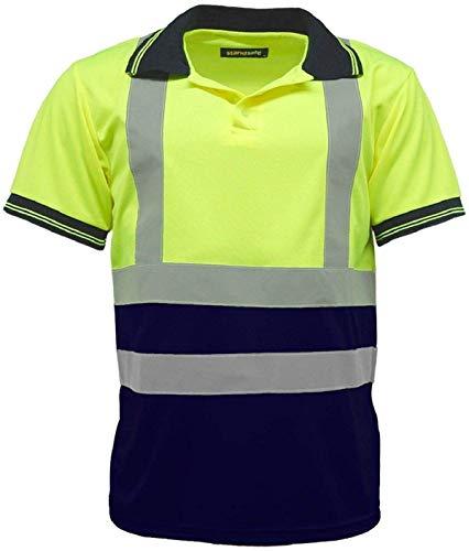 Hochsichtbar Herren 2 Ton Polo Kragen T-Shirt pro Arbeit Kleidung Sicherheit Warnschutz T-Shirt - 2 Tune Gelb/Marineblau, Large UK-12, US 8, EU 40