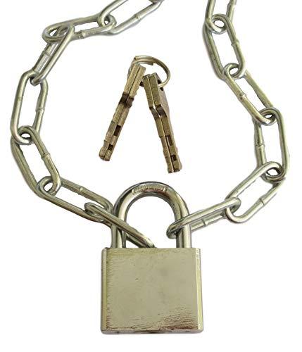 Stahlkette mit 40mm Schloss & 4 Schlüssel (Kette verzinkt 3,5mm x 28mm x 14mm Gliedstärke + 40mm breites Vorhängeschloss) Meterware 50cm bis 800cm -Länge auswählen- (50cm = 0,5 Meter)