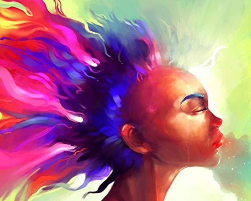 Malen Nach Zahlen DIY Tapete Gesicht Haarfarbe Bunte Zusammenfassung Leinwand Hochzeitsdekoration Kunst Bild Geschenk 40 * 50CM