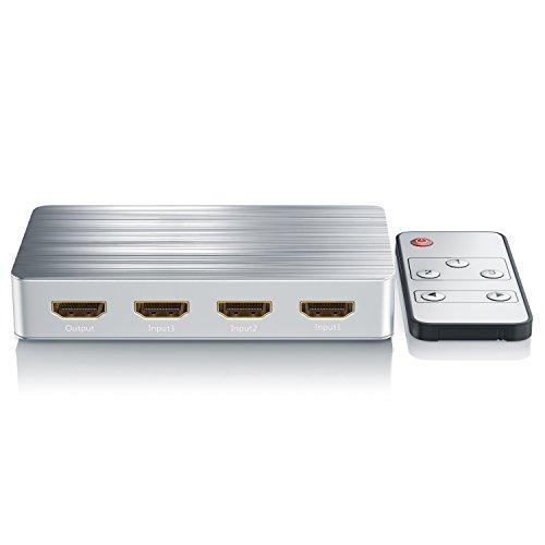 CSL - HDMI Switch Umschalter 4k Ultra HD - 3 Port Inkl. Fernbedienung 5,5mm x 2,1mm Hohlsteckernetzteil 5V 2A - 4096x2160 3840x2160 UHD 4k 2160p bei 60Hz - 3D Ready - HDCP 2.2 - YCbCr 444 8bit