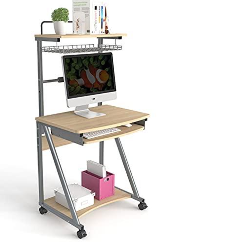 Escritorio Escritorio de computadora con estantes de almacenamiento y estudio de la redacción de la rueda para la oficina del hogar, estilo simple moderno, escritorio de juego rústico Escritorios de O
