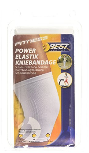 Best Sport Power Elastische Kniebandage, Weiß, Größe M by Best