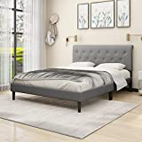 Upholstered Platform Bed Frame with Headboard/Wood Slat Support/Mattress Foundation/No Box Spring Needed/Easy Assembly Light Grey,Queen