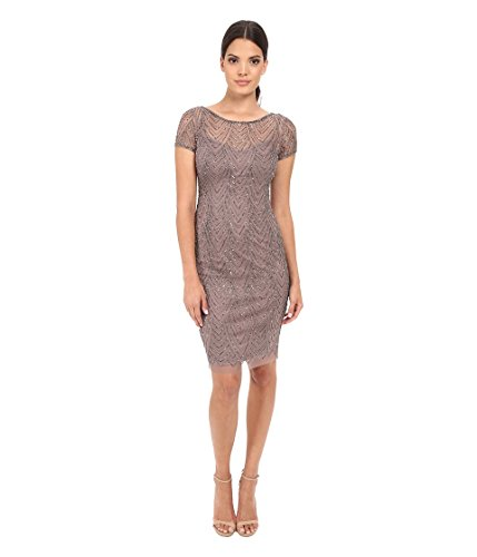 Adrianna Papell Women's Fully Beaded Cocktail Dress with Illusion Neckline, Stone, 14 (Apparel)
