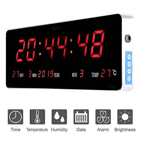 Jeffergarden Home Digitale Wanduhr Digitale Led Kalenderuhr Temperatur Wanduhren Eu-stecker 110-240 V (36 * 13 * 3cm-Kalendertemperatur Woche)