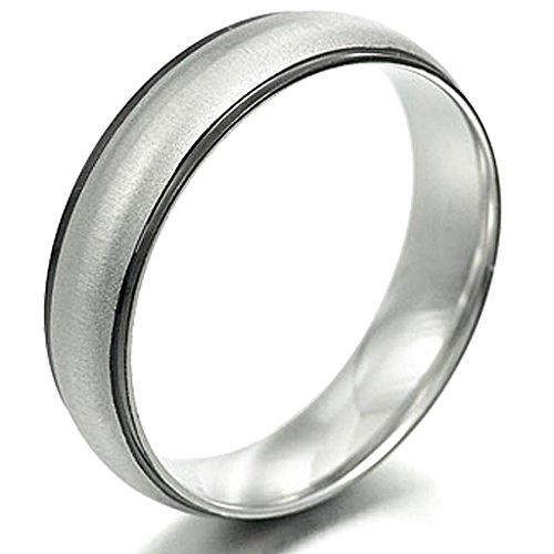 Gemini Men's Two Tone Black Mix Silver Anniversary Wedding Titanium Ring width 6mm Valentine's Day Gift