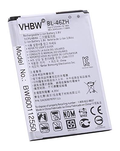 vhbw Li-Ion Akku 2125mAh (3.8V) für Handy Smartphone Handy LG K8, K8 4G, K89, LS675, LS675 Tribute, M1, M1V, MS330 wie BL-46ZH, EAC63079701.