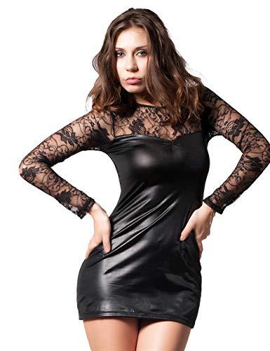 KemissLan Leder-Dessous für Damen, lange Ärmel Dessous Übergröße Spitze Lederrock für Damen (Amazon FBA) - Schwarz - 42-44