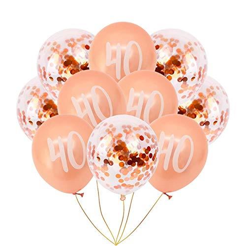 ASD Geburtstagsfeierdekoration Roségold Digitale Luftballons, 10er 40er Mix