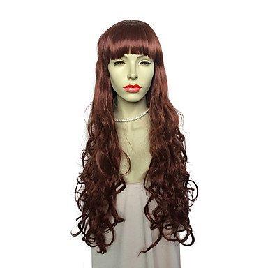 Js-wigs Perruque synthétique Deep Wave avec frange Rouge Femme Capless Naturel Perruques longs cheveux synthétiques