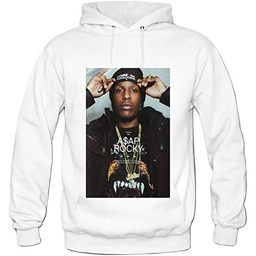 Mens ASAP Rocky Pullover Sweater Hoodies M White