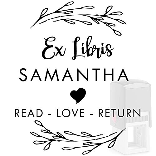 Custom Book Stamp 12+ Designs - Ex Libris - from The Library of Stamp - Please Return to This Belongs Stamper Personalized -Self Inking Wood Custom Classroom Library Round Teacher Stamp (Book 2)