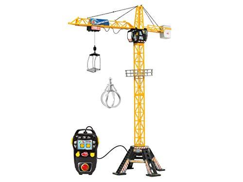 Dickie Toys 201139012 Mega Crane, elektrischer Kran mit Fernbedienung, für Kinder ab 3 Jahren, 120 cm hoch, mit Greifarm, Seilwinde, Kabine, Ladeplattform, Onlineversion