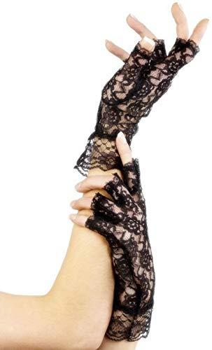 femmes noir dentelle blanche MITAINES GOTHIQUE DÉGUISEMENT HALLOWEEN gants - Noir, One size, One size