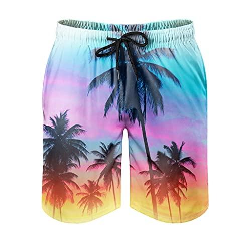 kikomia Bañador para hombre, diseño tropical con árbol, estampado tradicional, con bolsillos, forro de malla, color blanco, XL