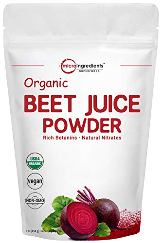 Organic Super Beet Juice Powder, 1 Pound (16 Ounce), Natural Nitrates for Energy Booster, Best Superfoods and Flavor for Beverage and Smoothie, Water Soluble, No GMO and Vegan Friendly