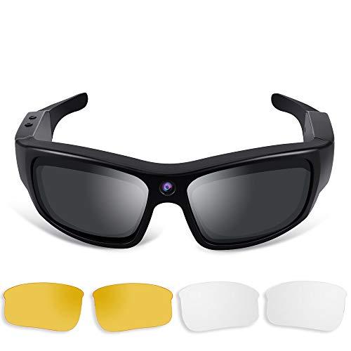 1080P HD Gafas de sol Cámara espía Videorgrabadora Acción Cámara con Lentes Polarizadas UV400, Soporte Fotografía, Tarjeta de Memoria de 16 GB integrada