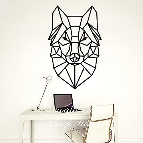 AiEnmaw Pegatina de pared de lobo geométrico de dibujos animados bebé guardería habitación de niños lindo animal cabeza lobo calcomanía de pared salón dormitorio sofá vinilo decoración 36 cm x 56 cm