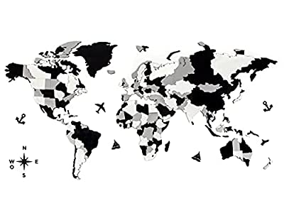Cuadros mapa mundi de madera - Cuadros decoracion o adornos para salon modernos utilizados como murales decorativos pared o mapa para marcar lugares El mapa del mundo sí incluye - Piezas de efecto 3D, adhesivo doble cara, instrucciones, marcadores y ...