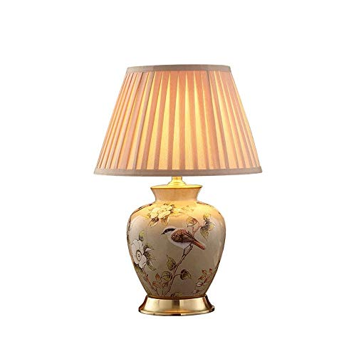 Ceramic Table Lamp, gespoten Pattern Printing Smooth plooide Zonnescherm Tafel Lamp, geschikt for Slaapkamer, Villa, Hotel, Living Room en andere Decoration