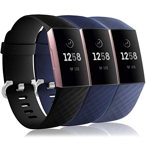 Wepro Waterproof Bands Compatible with Fitbit Charge 4 / Charge 3 / Charge 3 SE for Women Men, 3-Pack Replacement Wristbands for Fitbit Charge 3 / Charge 4, Large, Black, Navy Blue, Gray